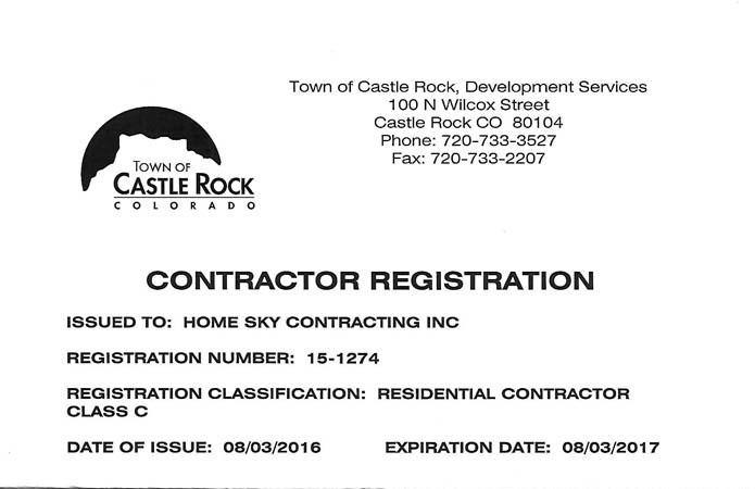 Certificate Castle Rock