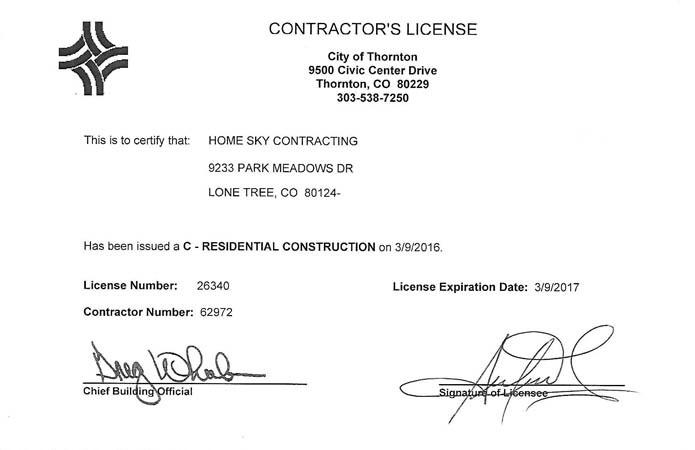 Certificate City of Thornton
