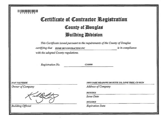Certificate Douglas County