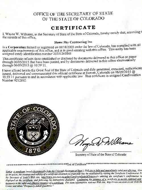SOS Certificate of Good Standing