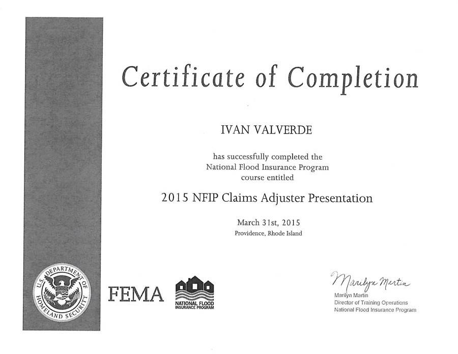 Certificate NFIP